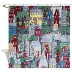 Folk Art City Life Shower Curtain