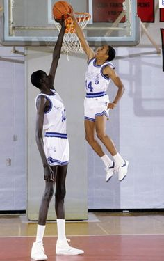 Manute Bol and Spud Webb - Spudd was a T-Wolf for a year - What a picture!