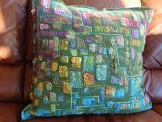 Nuno felt pillow on deviltkamer. Felt Cushion, Felt Pillow, Cushion Fabric, Nuno Felting, Needle Felting, Felt Wall Hanging, Diy Craft Projects, Crafts, Textile Fiber Art