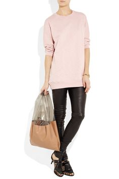 ACNE  Beals cotton-terry and silk-taffeta sweater