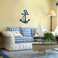 I'm in love with this coffee table and the anchor wall stencil!