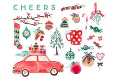 Watercolor Christmas Clip Art Set by RhianAwni on @creativemarket