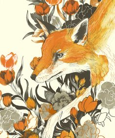 This illustration would make a great shoulder and back piece. Fox in Foliage by Teagan White Art Fox, Drawn Art, Karten Diy, Art Et Illustration, Woodland Creatures, Art Design, Graphic Design, Art Photography, Wolf