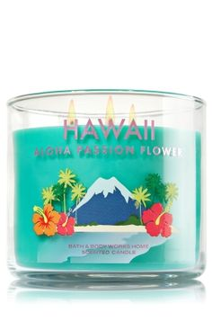 """Hawaii Aloha Passion Flower - 3-Wick Candle - Home Fragrance - Bath & Body Works - The Perfect 3-Wick Candle! Made using the highest concentration of fragrance oils, an exclusive blend of vegetable wax and wicks that won't burn out, our candles melt consistently & evenly, radiating enough fragrance to fill an entire room. Burns approximately 25 - 45 hours and measures 4"""" wide x 3 1/2"""" tall."""