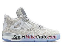 reputable site 75f79 cebbe Homme Air Jordan 4 IV Retro Blanc Gris Chaussures Jordan Site Officiel Pas  Cher 705333-