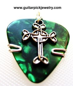 Nightmare guitar pick keychain can also be a guitar pick necklace guitar pick pendant green pick with celtic cross aloadofball Image collections