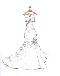 Wedding dress sketch with personalized hanger by Catie Stricker-Howell