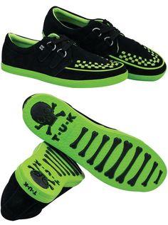Black & Neon Green Rocker Creeper Style Sneaker by Tredair UK