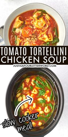 This tomato tortellini soup with chicken and spinach is light and hearty at the same time and oh so delicious!