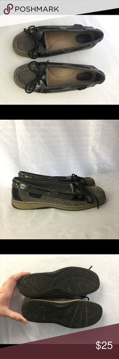 Sperry Top-Sider Gray and Black Shoes Good used condition! Not many signs of wear they were well taken care of. Sperry Top-Sider Shoes