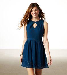 AE BEADED CUTOUT PARTY DRESS NAVY BLUE