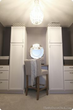 A total Master Closet transformation using kitchen cabinets #DIY