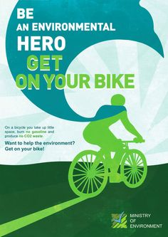 Environmental Hero | Poster encouraging youth to take their bikes & save the environment