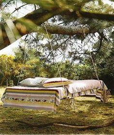 Outdoor Swing Bed, Lake Tahoe, California  photo via...