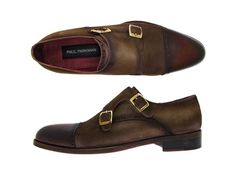 Paul Parkman Men's Double Monkstrap Captoe Dress Shoes - Brown / Beige Suede Upper and Leather Sole (ID#FK09)