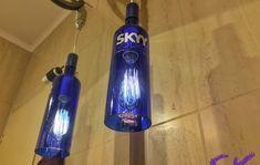 Cúpula | Lustre de garrafa SKYY no Elo7 | SK Eco Store (9BE619) Skyy Vodka, Luster, Cleaning Supplies, Soap, Bottle, Glass Chandelier, Bottle Chandelier, Led Lamp, Bottles