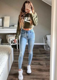 Cute Teen Outfits, Cute Comfy Outfits, Teenager Outfits, Simple Outfits, Stylish Outfits, Trendy Outfits For Teens, Cute Outfits With Nikes, White Girl Outfits, Outfits With Skinny Jeans