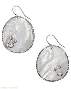 """This pair won't get lost in your hairdo! The shimmery shell and """"water drop"""" Cubic Zirconia will stand out. Mother-of-Pearl, Cubic Zirconia, Sterling Silver."""