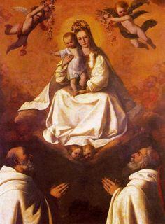 La Virgen de la Merced y dos mercedarios.