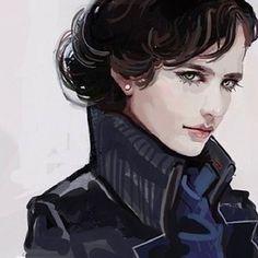 I don't normally like the genderbend Sherlock, but this one looks cool. Sherlock Holmes, Sherlock Fandom, Fan Art Sherlock, Jim Moriarty, Sherlock Quotes, Sherlock Cosplay, Sherlock And Irene, Sherlock Poster, Funny Sherlock