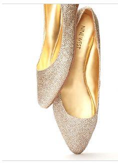 4684c7c9690 memory foam Cinderella Slipper, Gold Flats, Shoes World, Nine West, Pointy  Toe