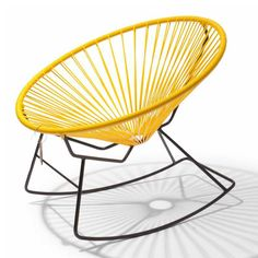 Furniture - Condesa Yellow Rocking Chair - Hutsly. A twist on the classic Acapulco chair, this very bright rocking chair in canary yellow is hand-woven in Mexico and can be used outside (by the pool?) as well as inside. Why not add a comfy cushion to make it even more cozy?