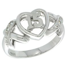 Sterling Silver Quinceanera 15 Anos Ring Hearts and Kisses CZ stones Rhodium Finished, size 7