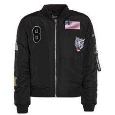 BECKY Blouson Bomber black ZALANDO ($51) ❤ liked on Polyvore featuring outerwear, jackets, bomber jackets, blouson jacket and bomber style jacket