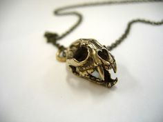 Bronze Wild Cat Skull Pendant with Articulated Jaw - Moon Raven Designs