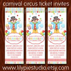 Party Ticket Invitations 6 Carnival Circus Birthday Party Ticket Invitations  Birthdays .