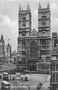 Westminster Abbey, London, UK - A late 1920s view of, from the left, Big Ben, St. Margaret's Church and Westminster Abbey. The same scene could be photographed today, only the cars and buses would be different and the street furniture.