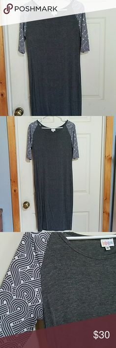 LuLaRoe Julie Size M Solid gray dress with a white and grey swirl pattern on the sleeves LuLaRoe Dresses Midi