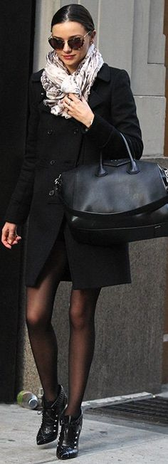 Miranda Kerr: Purse and coat: Givenchy, Sunglasses: Miu Miu, Shoes: Tabitha Simmons, Watch: Longines La Grande