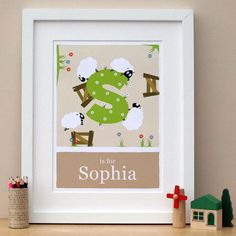 S is for Sheep Personalised nursery art print by Doodlebump, £22.00