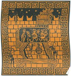 Ancient Greek Art, Ancient Greece, Troy Horse, Castle Sketch, Spartan Warrior, Horse Illustration, Horse Posters, Trojan War, Horse Crafts