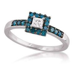 Ladies White and Treated Blue Diamond Promise Ring in White Gold - Wedding