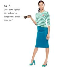 I love this look!   J. Crew No. 2 Pencil Skirt in Double-Serge Wool, Vivid Jade