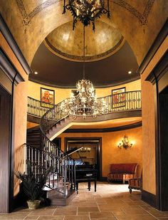 Foyer & Stair Rotunda with beautifully detailed barrel ceiling & ceiling dome...