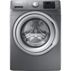 Samsung - 4.2 Cu. Ft. 9-Cycle High-Efficiency Steam Front-Loading Washer - Platinum - Front Zoom