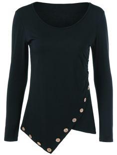 Asymmetrical Inclined Button T-Shirt - BLACK XL