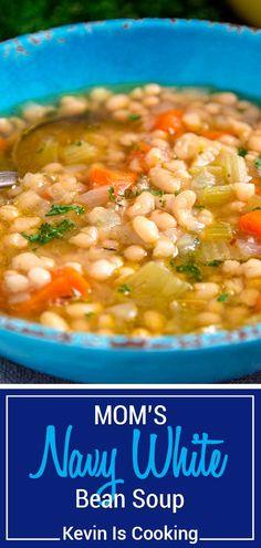 Ham And Bean Soup, White Bean Soup, Crockpot Navy Bean Soup, Recipe For Bean Soup, Bean Stew, White Bean Sausage Soup, White Bean Chili, Navy Bean Recipes, Vegetarian