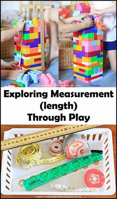 Exploring Measurement (length) Through Play - Introducing measurement vocabulary, measuring using non-standard units and introducing units of measurement.all through play! Measurement Kindergarten, Measurement Activities, Math Measurement, Preschool Math, Kindergarten Activities, Teaching Math, Teaching Resources, Math Games, Teaching Ideas