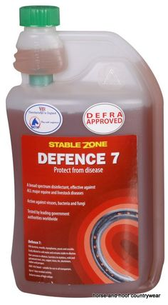 Animal Health Company Stablezone Defence 7 A high powered MAFF approved disinfectant active against all major equine diseases including the cough virus.