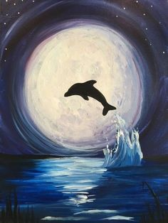 Moonlit Dolphin acrylic canvas by Painted. Studios Moonlit Dolphin acrylic canvas by Painted. Cute Canvas Paintings, Simple Acrylic Paintings, Mini Canvas Art, Acrylic Painting Canvas, Animal Paintings, Letter Canvas, Fantasy Paintings, Painting Abstract, Dolphin Drawing