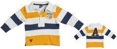 Polo de manga larga para niño a rayas en blanco, amarillo y azul - Polos y Camisetas Niño y Niña hasta los 4 Años - Mundo Kiriko