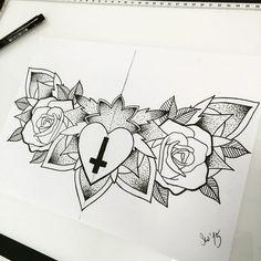 Rose Tattoos, Black Tattoos, New Tattoos, Cross Tattoos For Women, Tattoo Designs For Women, Chest Tattoo Sketches, Cross Drawing, Simple Tats, Classic Tattoo
