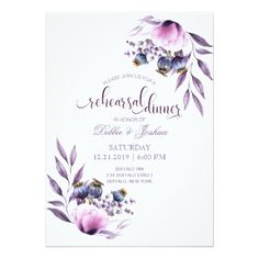 Lavender Poppy Watercolor Wedding Rehearsal Card - spring gifts beautiful diy spring time new year