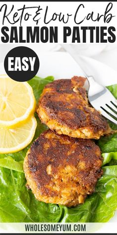 Low Carb Keto Salmon Patties Recipe (Salmon Cakes) - Low carb keto salmon patties (a. salmon cakes) are ready in 15 minutes with simple pantry ingredients. This keto salmon patty recipe is a budget-friendly way to enjoy healthy fish. Canned Salmon Patties, Fried Salmon Patties, Canned Salmon Recipes, Salmon Patties Recipe, Seafood Recipes, Keto Recipes, Salmon Patties Low Carb, Salmon Low Carb Recipes, Healthy Low Carb Recipes