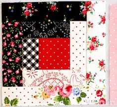 Back to School with Pam Kitty: Row 4 - Fat Quarter Shop's Jolly Jabber log cabin block I really like the combination of fabrics used in this log cabin! Log Cabin Quilt Pattern, Log Cabin Quilts, Quilt Block Patterns, Quilt Blocks, Log Cabins, Quilting Projects, Quilting Designs, Quilting Ideas, Black And White Quilts