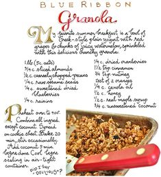 Susan Branch Recipe for Blue Ribbon Granola Brunch Recipes, New Recipes, Breakfast Recipes, Cooking Recipes, Favorite Recipes, Dessert Recipes, Cooking Ideas, Drink Recipes, Desserts